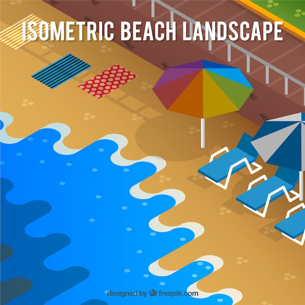 Beach landscape background in isometric\ style