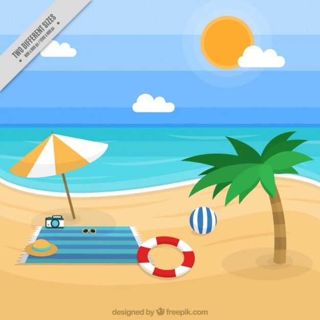Beach landscape background with\ accessories