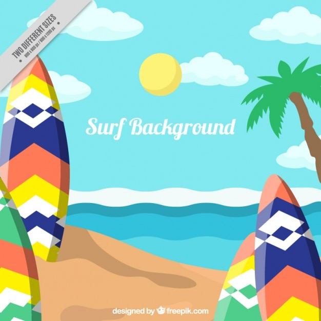 Beach landscape background with colorful\ surfboards