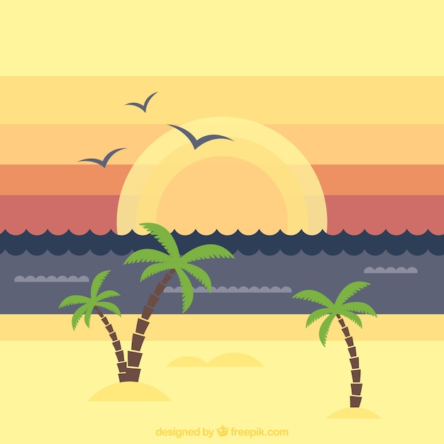 Beach landscape background with palm trees at\ sunset