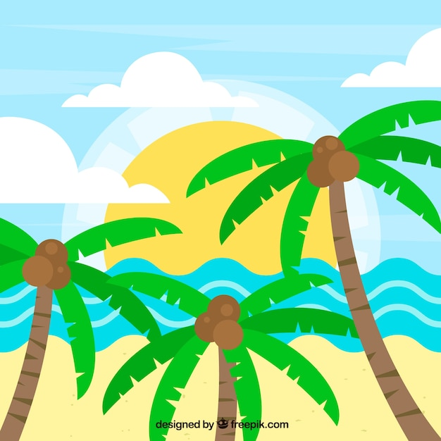 Beach landscape background with palm trees in\ flat design