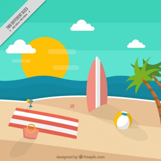 Beach landscape background with summer\ elements