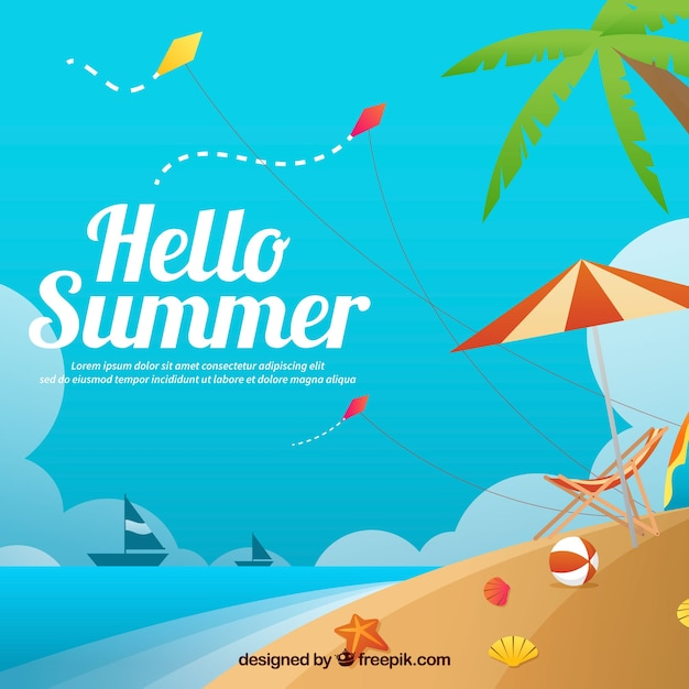 Beach landscape background with text \