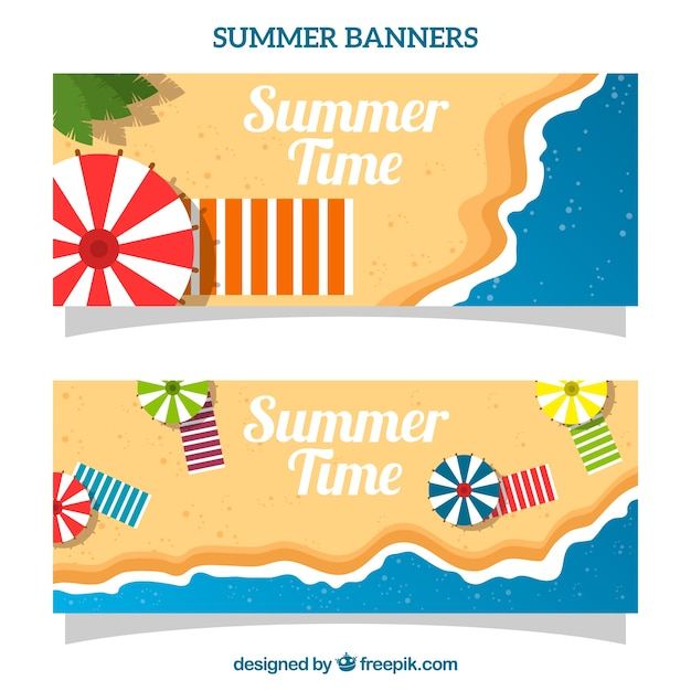 Beach landscape banners in top view