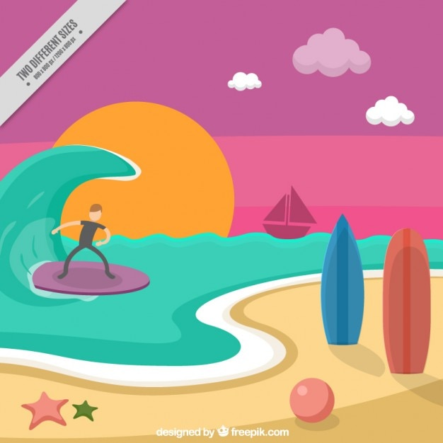 Beach landscape with a surfer background