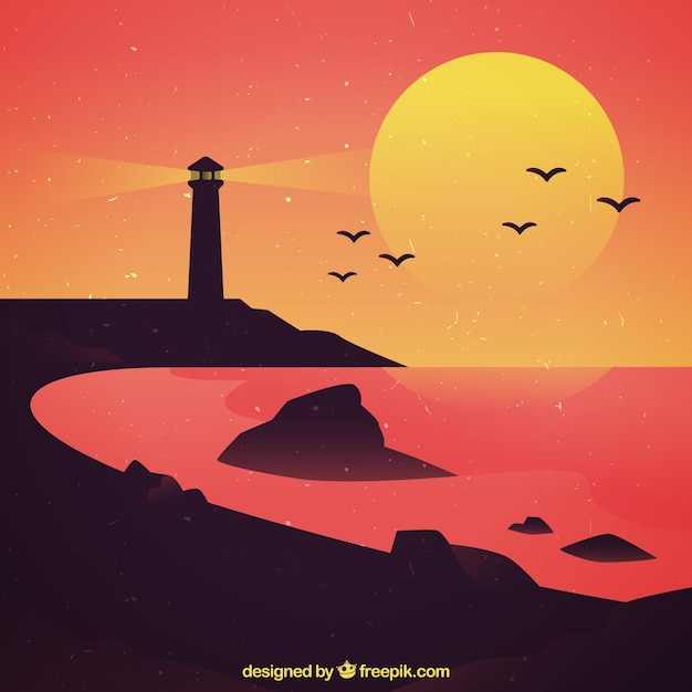 Beach landscape with lighthouse at sunset Free Vector