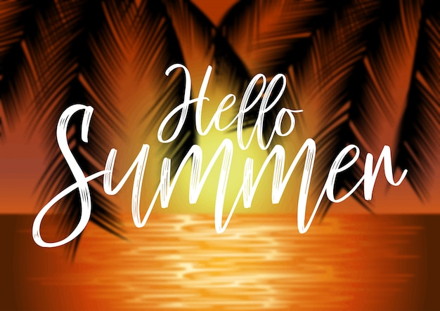 Beach landscape with palm trees and lettering on blur background. summer concept illustration Premium Vector