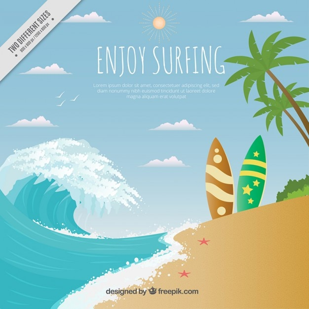 Beach landscape with surfboards background Free Vector