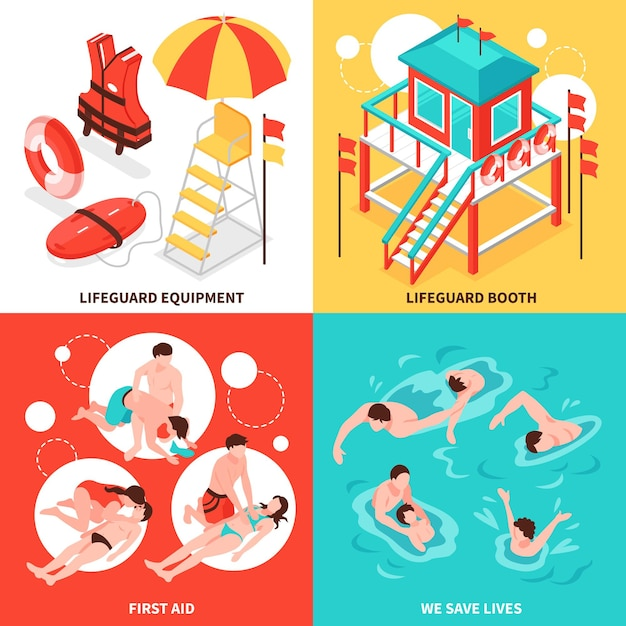 Beach lifeguards 2x2  concept  set of  lifeguard inventory and saving drowning isometric compositions Free Vector