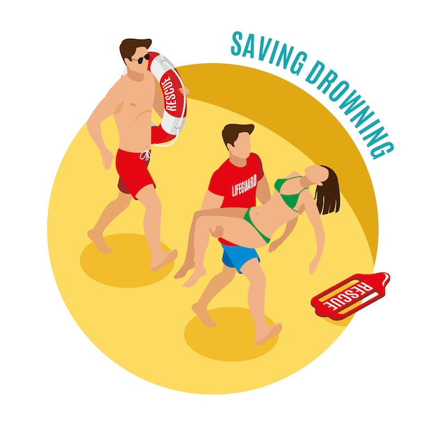 Beach lifeguards holding lifebuoy and saved girl isometric illustration Free Vector