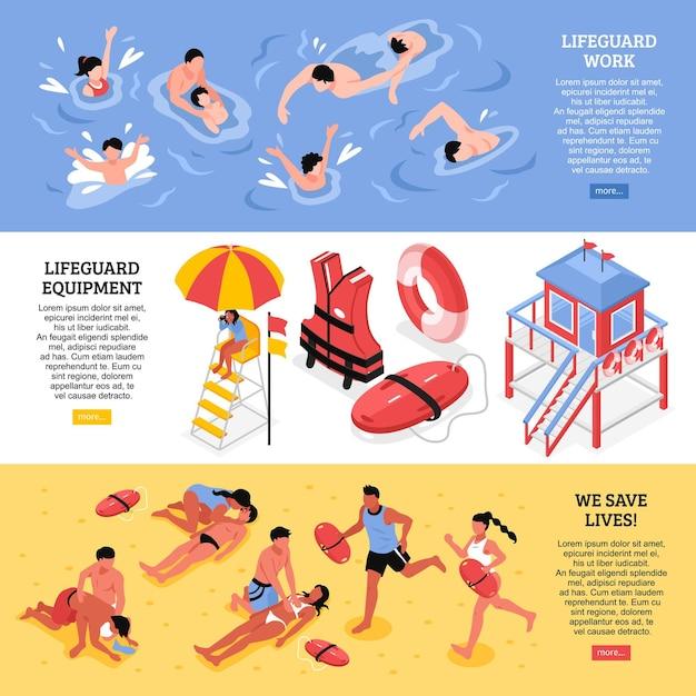 Пляжные спасатели горизонтальные баннеры, иллюстрированные спасателем, рабочая экипировка и спасательные принадлежности изометрии Бесплатные векторы