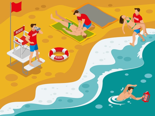 Beach lifeguards isometric composition with professional rescue team working with tourists caught in dangerous situation Free Vector