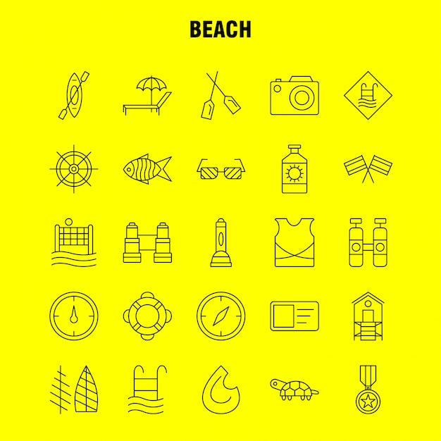 Beach line icon Premium Vector