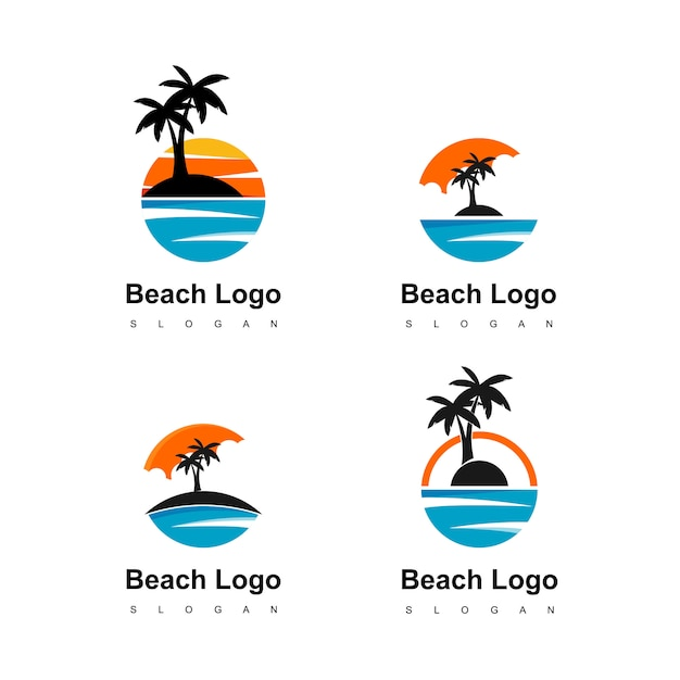 Beach logo circle land with palm tree icon for travel agent Premium Vector