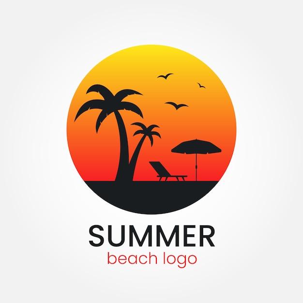 Beach logo design. sunset and palm trees. round logotype. travel agency logo. beach umbrella and sun lounger. Premium Vector