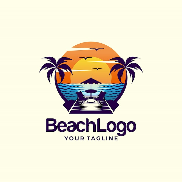 Beach logo  design vector template Premium Vector