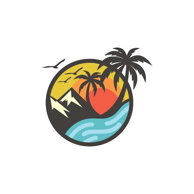 Beach logo design vector template Vector | Premium Download
