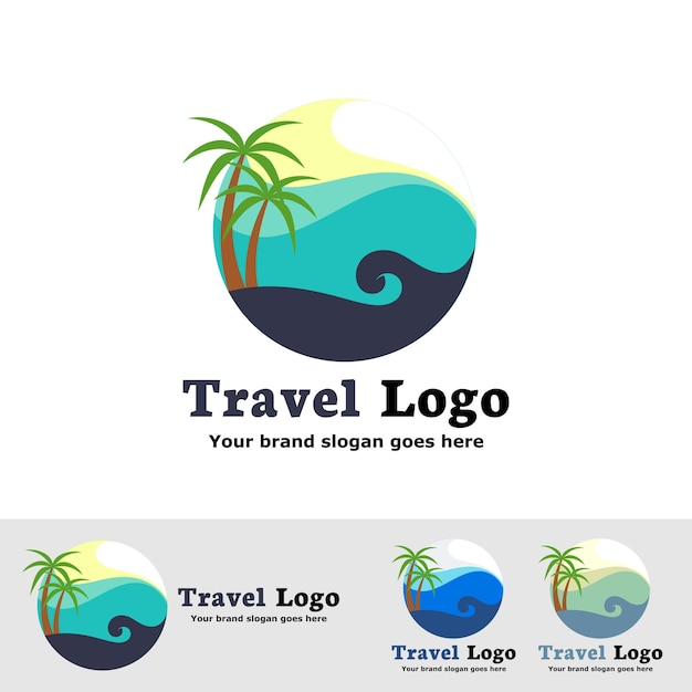 The beach logo with sea wave Premium Vector