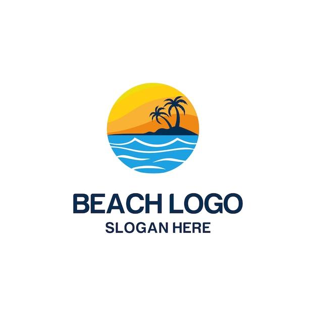 ビーチのロゴ Premiumベクター