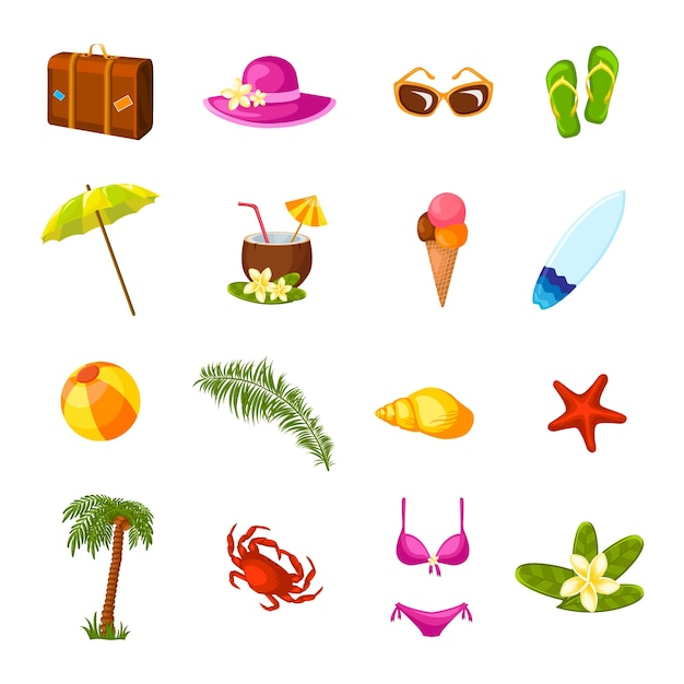 Beach multicolored icons set Free Vector