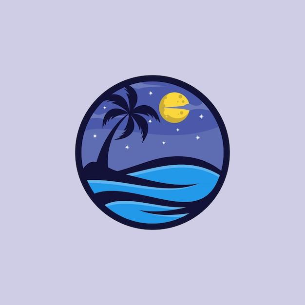 해변의 밤 로고 디자인 벡터 템플릿 프리미엄 벡터