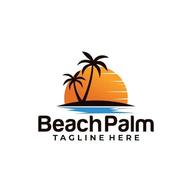 Beach palmロゴのテンプレート Premiumベクター