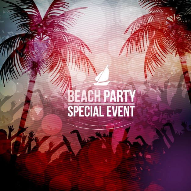 beach party background vector free download