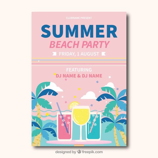 Beach party card in pastel tones Free Vector