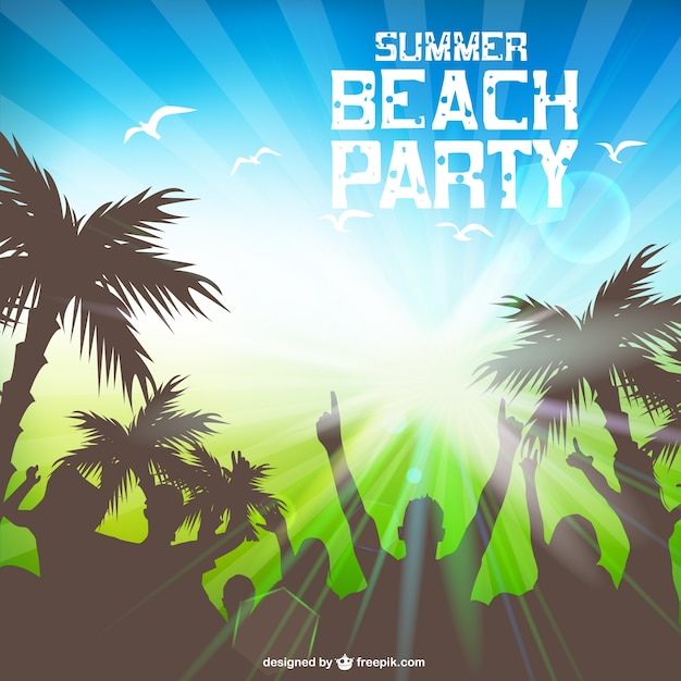 Beach Party Card With People Partying Silhouettes And Palm Trees Free Vector