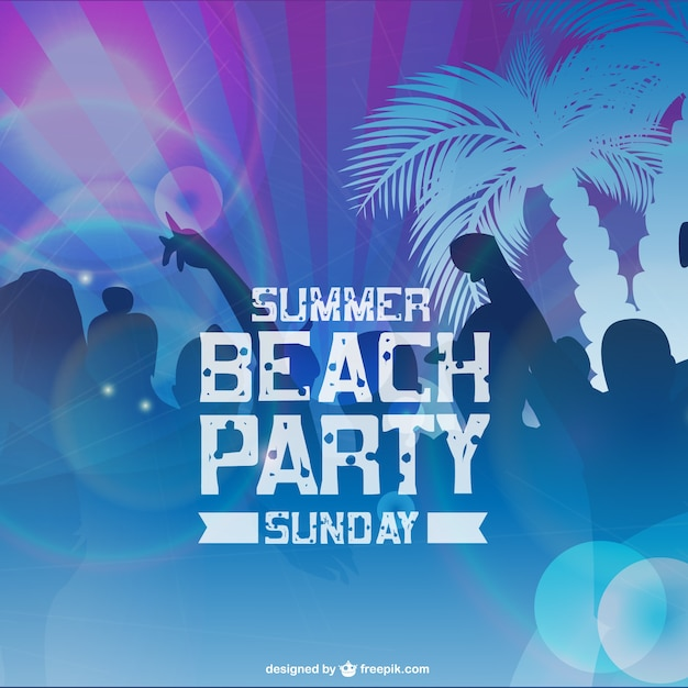 Beach party card with people silhouettes and palm trees Free Vector