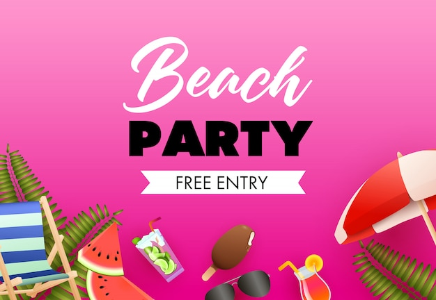 Beach party colorful poster design. ice cream, cocktail Free Vector