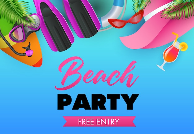 Beach party colorful poster design. surfboard Free Vector