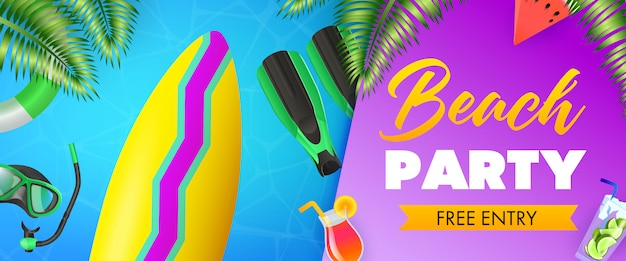 Beach party, free entry lettering, surfboard, scuba mask Free Vector
