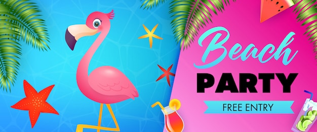 Beach party, free entry lettering with cute flamingo Free Vector