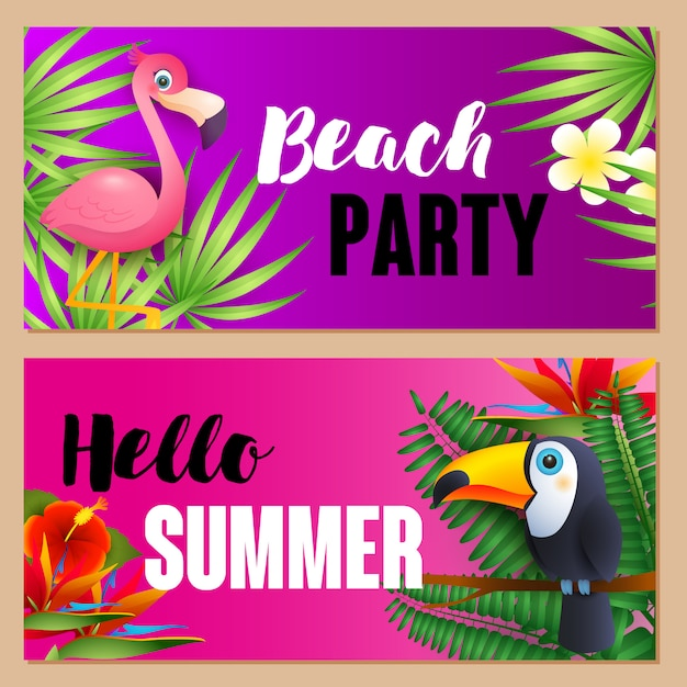 Beach party, hello summer letterings set with exotic birds Free Vector