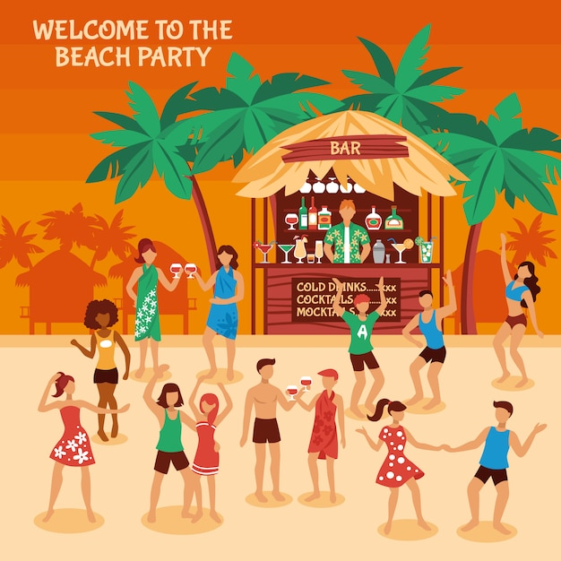 Beach party illustration Free Vector