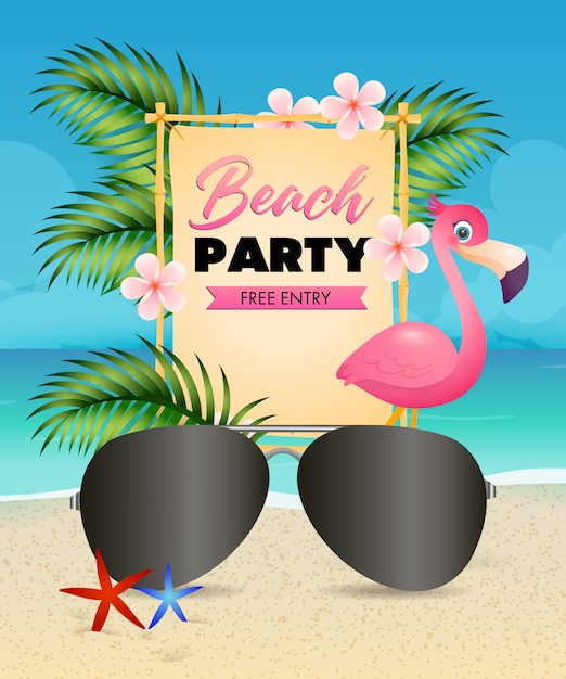 Beach party lettering, flamingo, flowers and sunglasses Free Vector