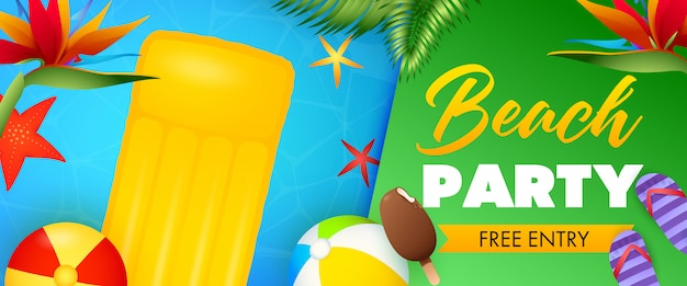 Beach party lettering, floating raft and inflatable balls Free Vector