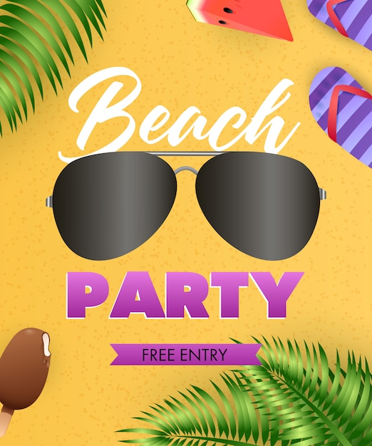 Beach party lettering, sunglasses, flip flops, tropical leaves Free Vector