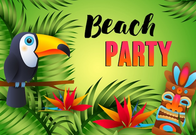 Beach party lettering with tiki mask, exotic bird and flowers Free Vector