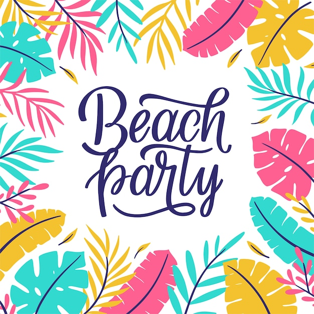 Beach party lettering Premium Vector