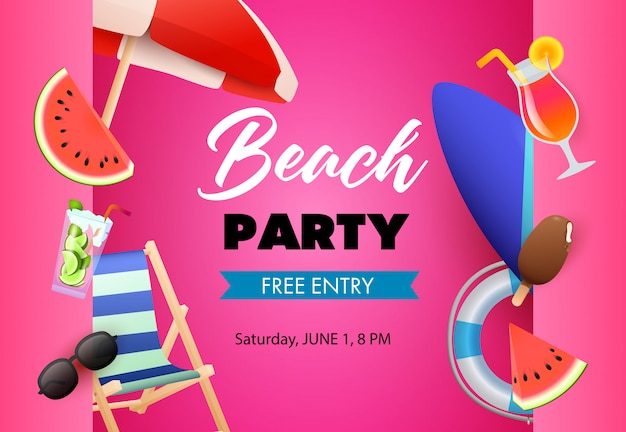 Beach party poster design. watermelon, cocktail Free Vector