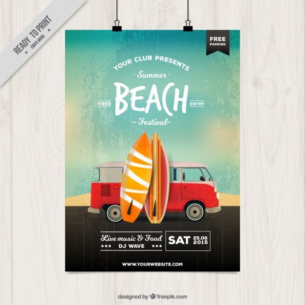Beach party poster with surfboards Free Vector