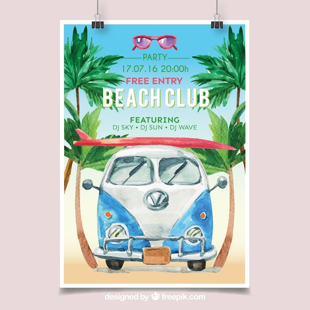 Beach Party Poster With Watercolor Van Free Vector