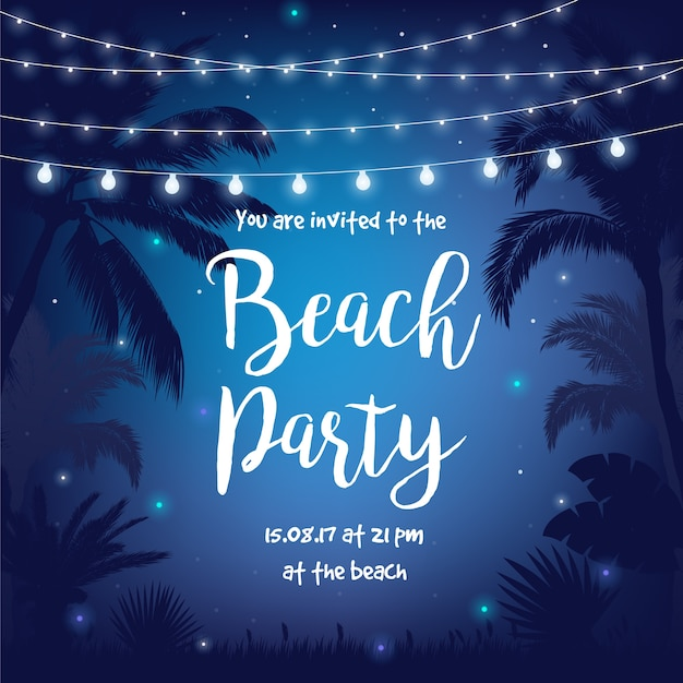 Beach Party Vector Illustration With Beautiful Night Starry Sky Palms Leaves And Hanging Premium
