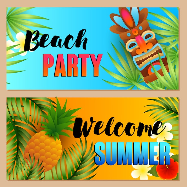 Beach party, welcome summer letterings set, pineapple, tiki mask Free Vector