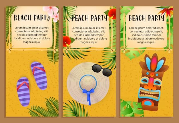 Набор надписей beach party, племенная маска, шлепки, пляжная шапка Бесплатные векторы