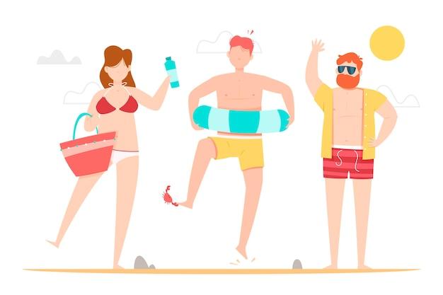楽しいビーチの人々 無料ベクター