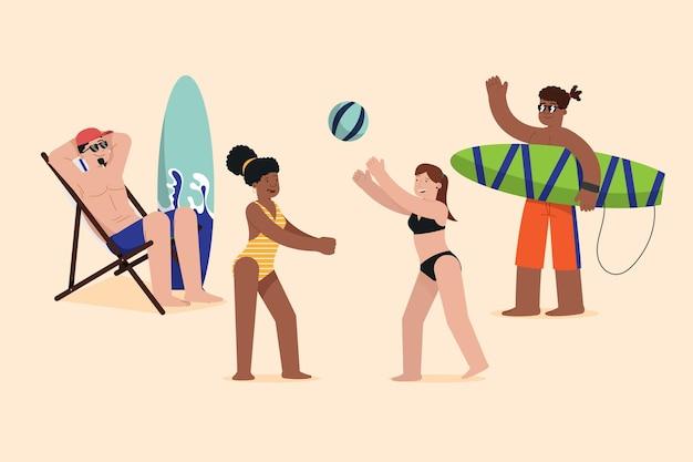 Концепция иллюстрации людей пляжа Бесплатные векторы