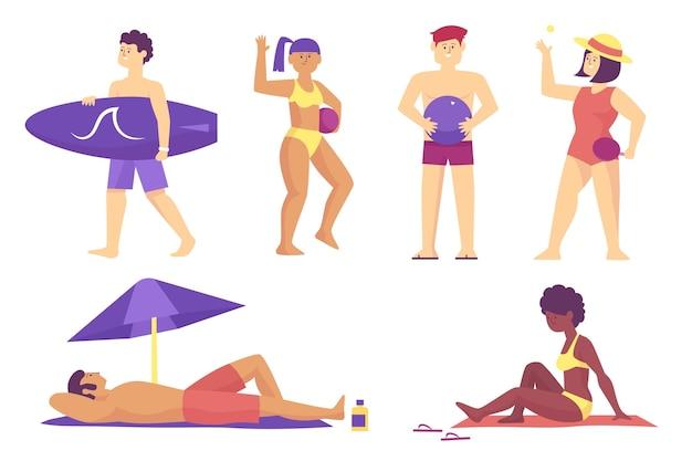 Иллюстрация людей пляжа Бесплатные векторы